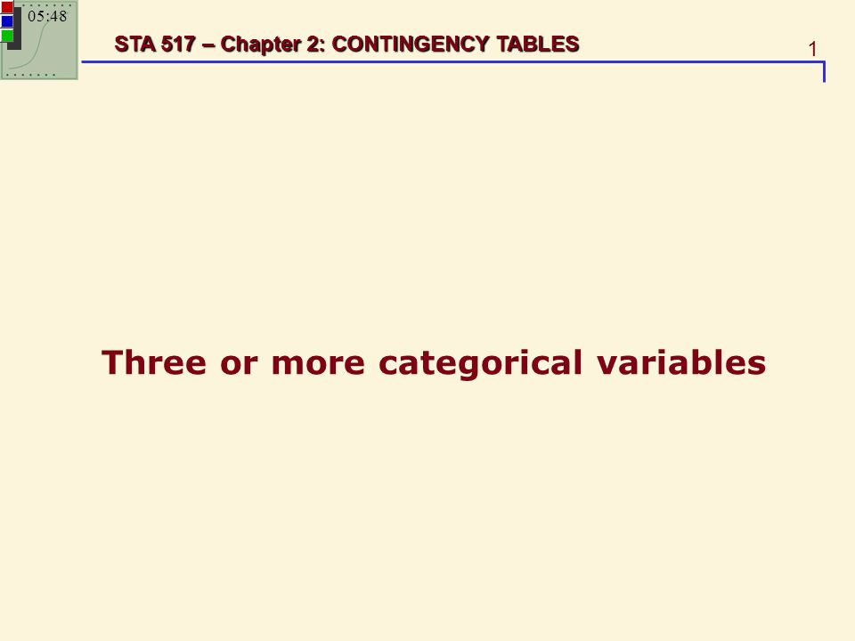 1 STA 517 – Chapter 2: CONTINGENCY TABLES Three or more categorical variables 05:49