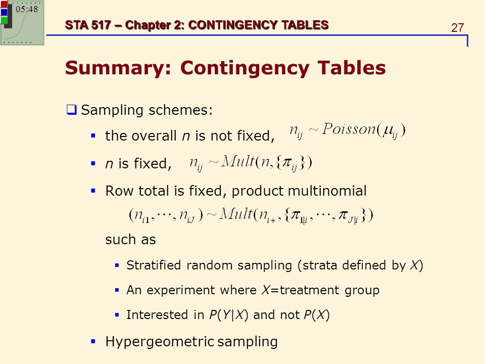 27 STA 517 – Chapter 2: CONTINGENCY TABLES Summary: Contingency Tables  Sampling schemes:  the overall n is not fixed,  n is fixed,  Row total is