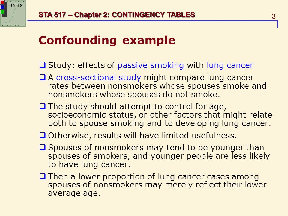 3 STA 517 – Chapter 2: CONTINGENCY TABLES Confounding example  Study: effects of passive smoking with lung cancer  A cross-sectional study might com