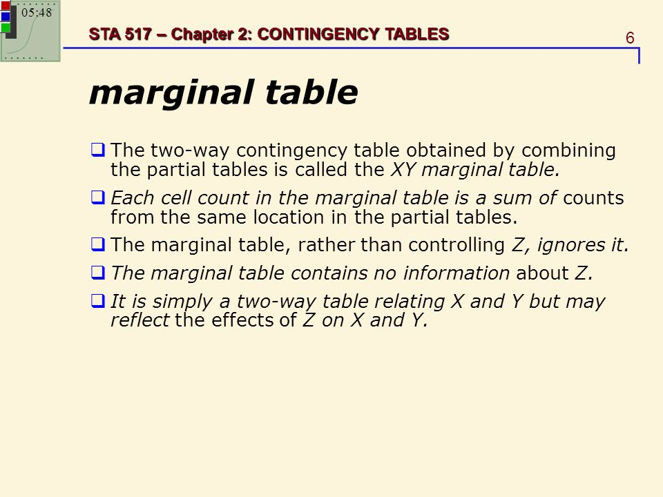 6 STA 517 – Chapter 2: CONTINGENCY TABLES marginal table  The two-way contingency table obtained by combining the partial tables is called the XY mar