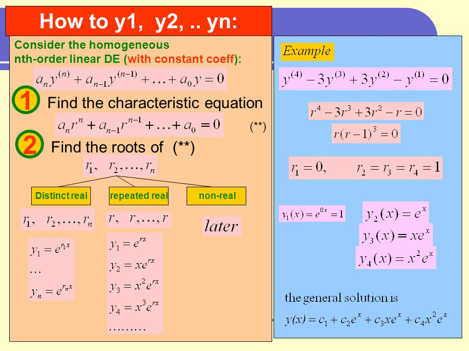Consider the homogeneous nth-order linear DE (with constant coeff): How to y1, y2,..