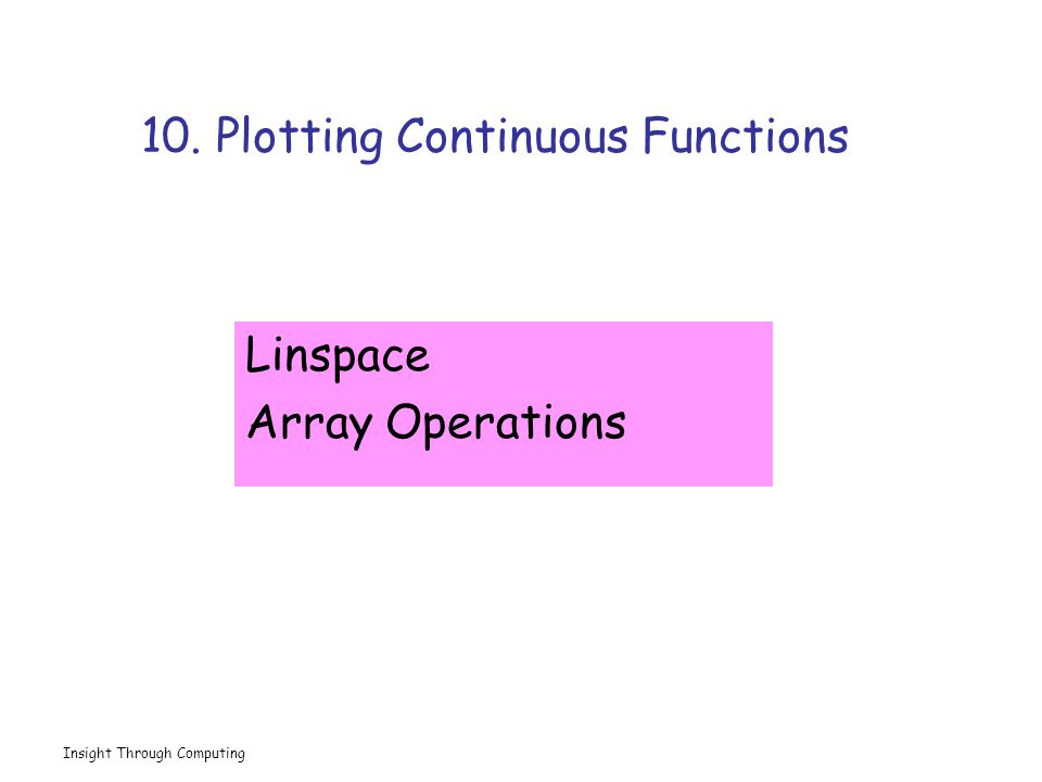 Insight Through Computing 10. Plotting Continuous Functions Linspace Array Operations