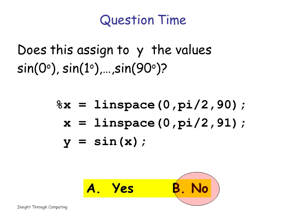 Insight Through Computing Question Time Does this assign to y the values sin(0 o ), sin(1 o ),…,sin(90 o ).