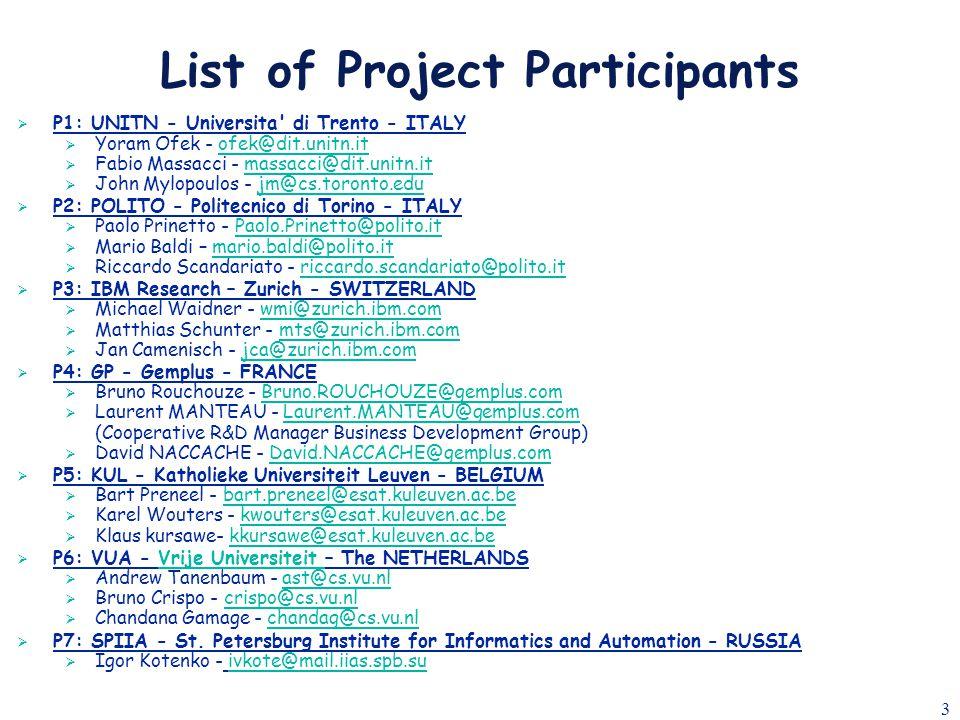 3 List of Project Participants  P1: UNITN - Universita' di Trento - ITALY  Yoram Ofek - ofek@dit.unitn.itofek@dit.unitn.it  Fabio Massacci - massac