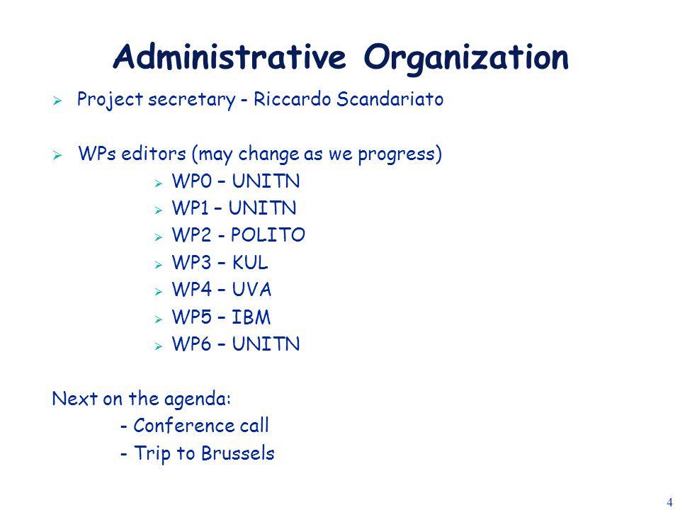 4 Administrative Organization  Project secretary - Riccardo Scandariato  WPs editors (may change as we progress)  WP0 – UNITN  WP1 – UNITN  WP2 -