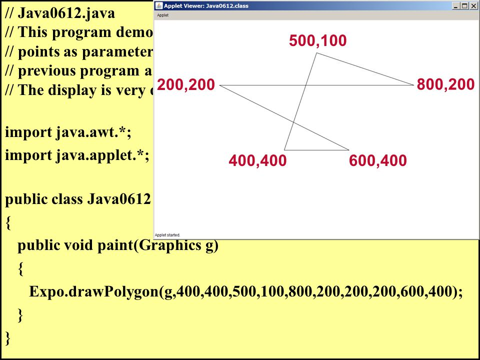 // Java0612.java // This program demonstrates that the sequence of adding coordinate // points as parameters is significant. The same coordinates of t