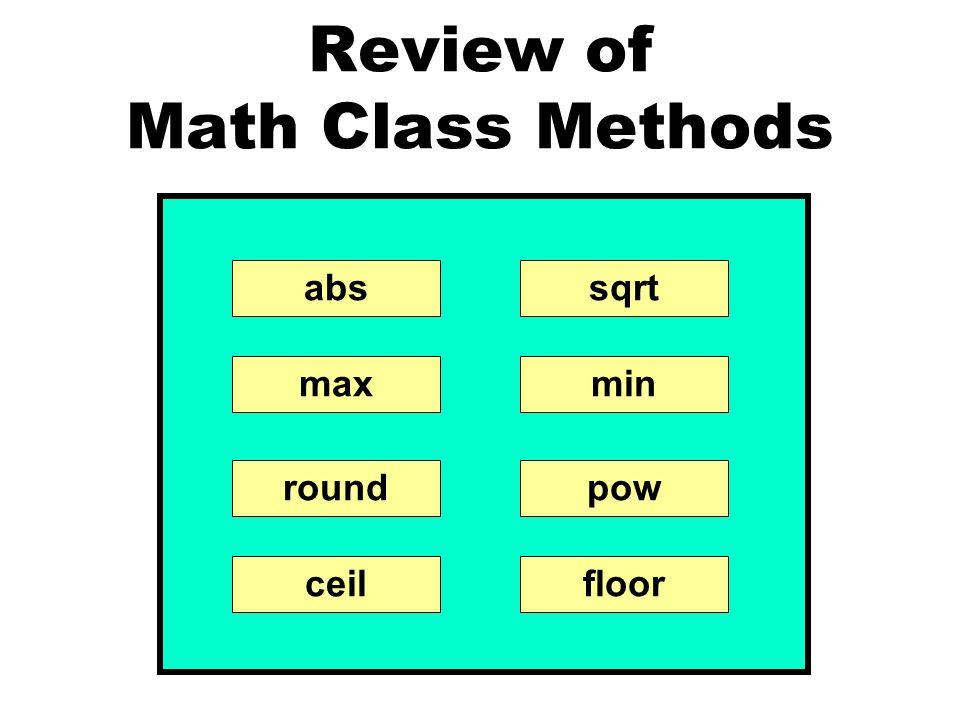 Review of Math Class Methods abssqrt minmax powround ceilfloor