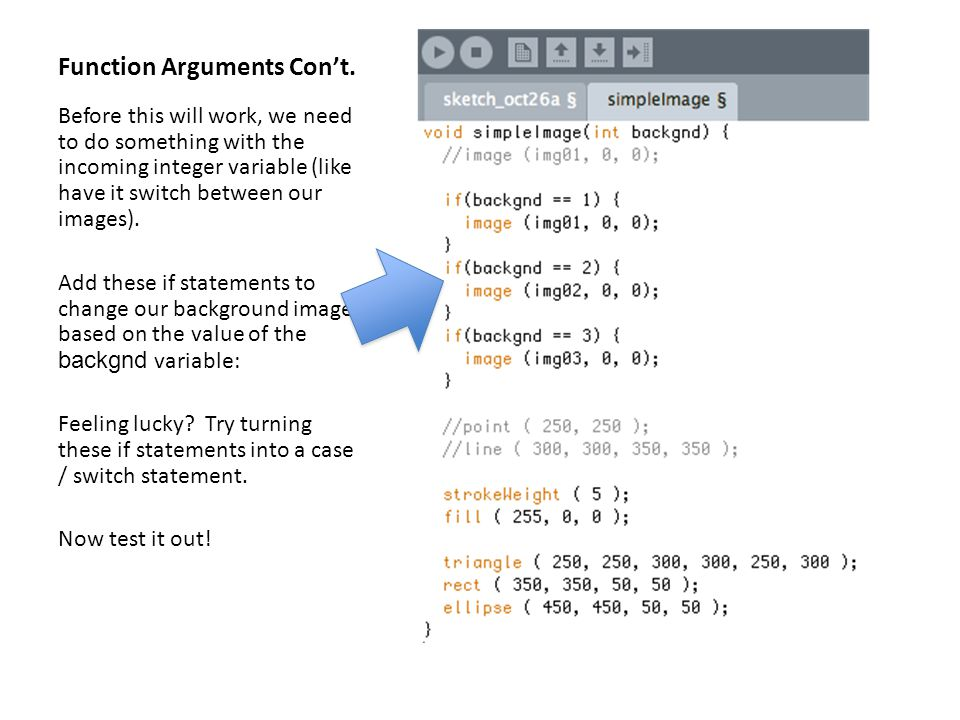Function Arguments Con't.