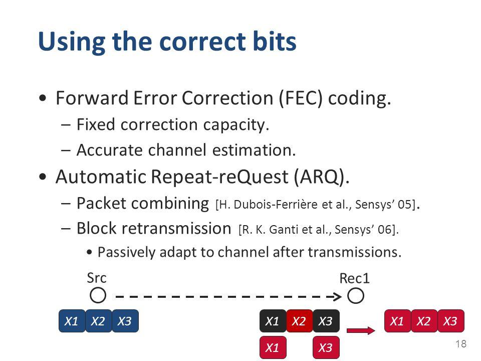 Using the correct bits Forward Error Correction (FEC) coding. –Fixed correction capacity. –Accurate channel estimation. Automatic Repeat-reQuest (ARQ)