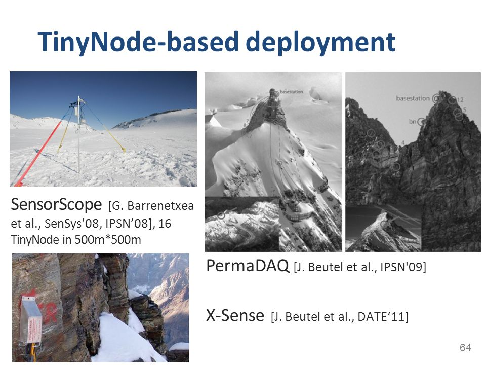 TinyNode-based deployment 64 SensorScope [G. Barrenetxea et al., SenSys'08, IPSN'08], 16 TinyNode in 500m*500m PermaDAQ [J. Beutel et al., IPSN'09] X-