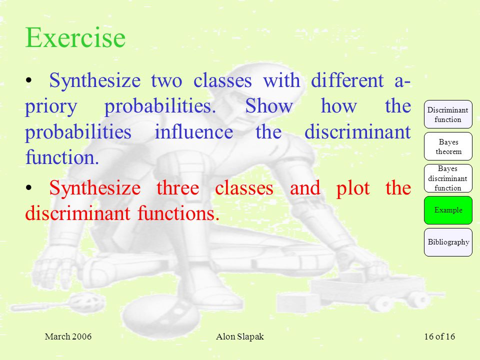 March 2006Alon Slapak 16 of 16 Exercise Synthesize two classes with different a- priory probabilities.