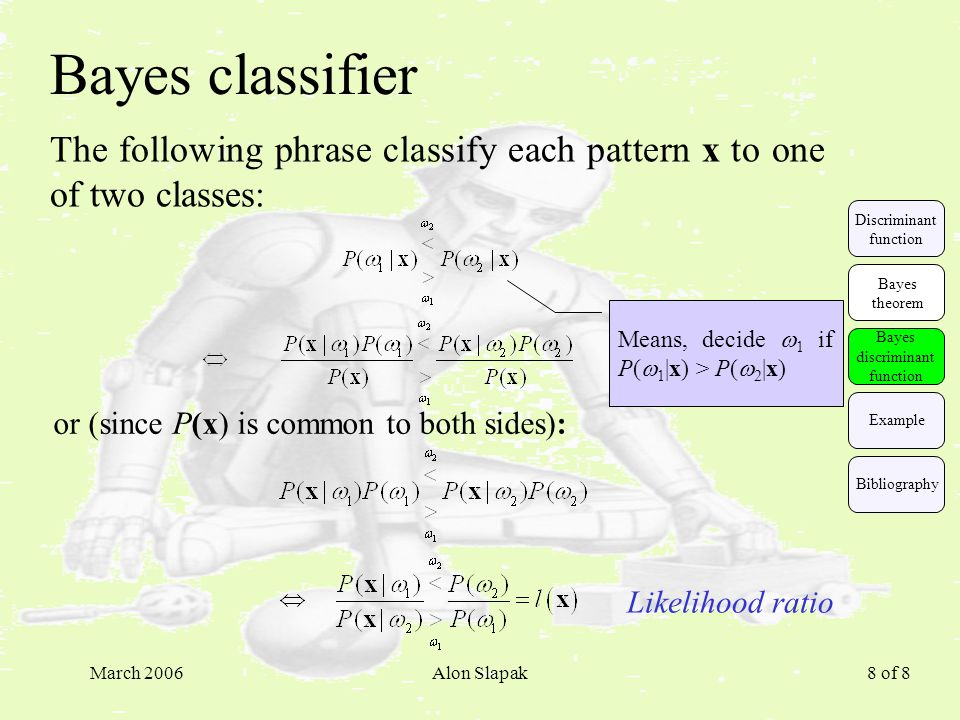 March 2006Alon Slapak 8 of 8 Bayes classifier The following phrase classify each pattern x to one of two classes: or (since P(x) is common to both sid