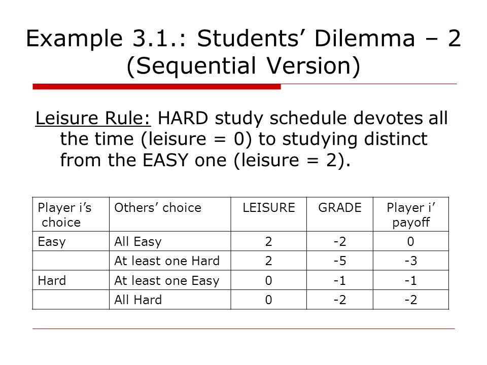 Example 3.1.: Students' Dilemma – 2 (Sequential Version) Leisure Rule: HARD study schedule devotes all the time (leisure = 0) to studying distinct from the EASY one (leisure = 2).