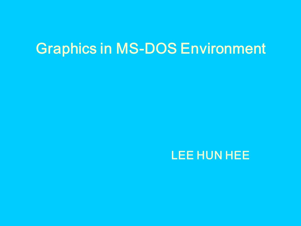 Graphics in MS-DOS Environment LEE HUN HEE