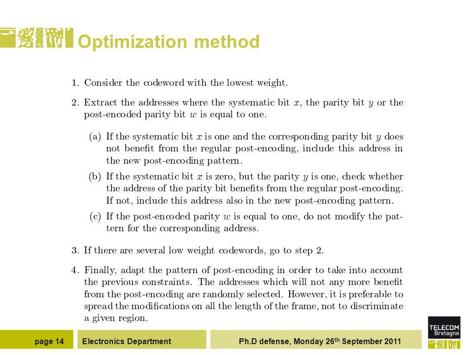 Electronics Department Ph.D defense, Monday 26 th September 2011page 14 Optimization method