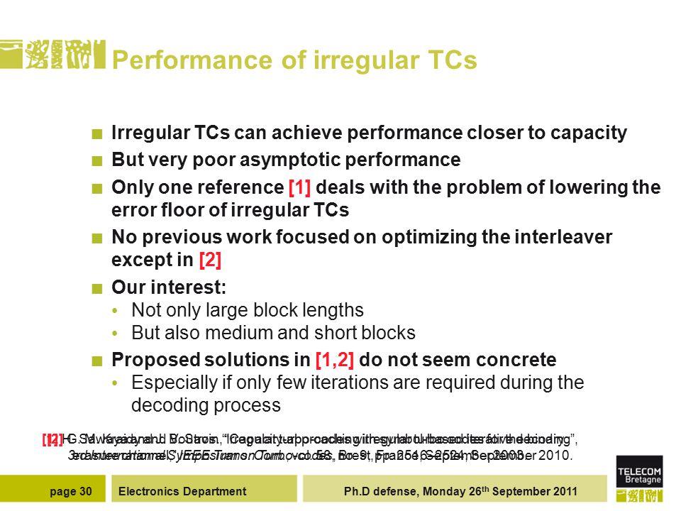 Electronics Department Ph.D defense, Monday 26 th September 2011page 30 Performance of irregular TCs Irregular TCs can achieve performance closer to c