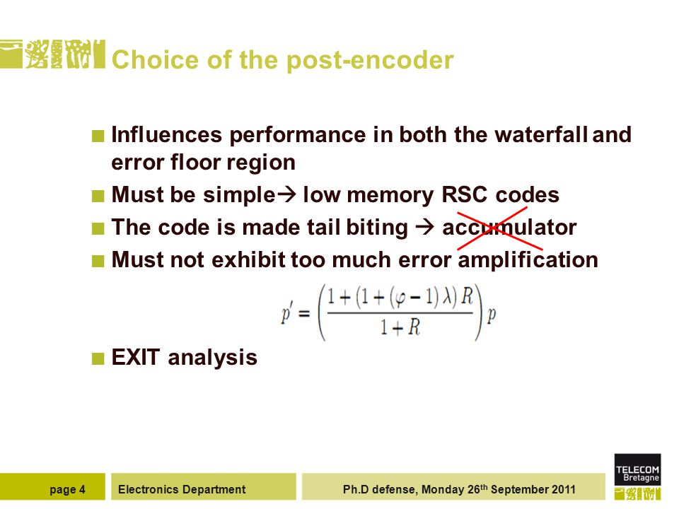 Electronics Department Ph.D defense, Monday 26 th September 2011page 4 Choice of the post-encoder Influences performance in both the waterfall and err