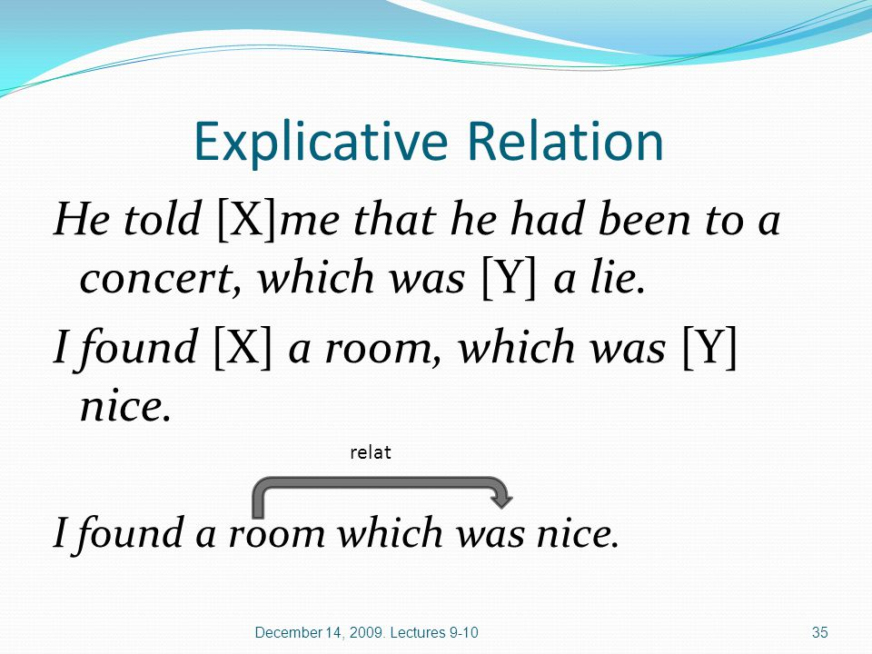 Explicative Relation He told [X]me that he had been to a concert, which was [Y] a lie.