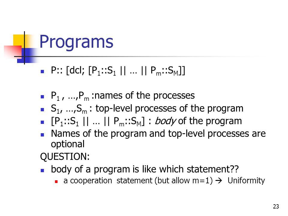 23 Programs P:: [dcl; [P 1 ::S 1 || … || P m ::S M ]] P 1, …,P m :names of the processes S 1, …,S m : top-level processes of the program [P 1 ::S 1 ||