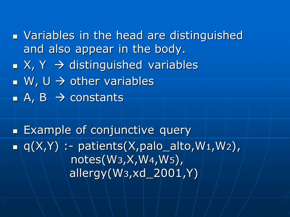 Variables in the head are distinguished and also appear in the body.