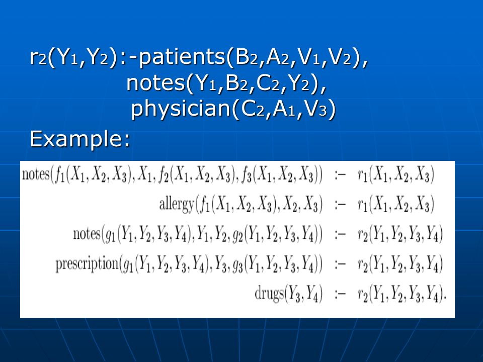 r 2 (Y 1,Y 2 ):-patients(B 2,A 2,V 1,V 2 ), notes(Y 1,B 2,C 2,Y 2 ), physician(C 2,A 1,V 3 ) Example: