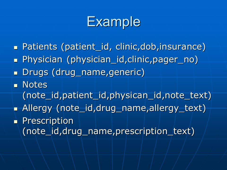 Example Patients (patient_id, clinic,dob,insurance) Patients (patient_id, clinic,dob,insurance) Physician (physician_id,clinic,pager_no) Physician (physician_id,clinic,pager_no) Drugs (drug_name,generic) Drugs (drug_name,generic) Notes (note_id,patient_id,physican_id,note_text) Notes (note_id,patient_id,physican_id,note_text) Allergy (note_id,drug_name,allergy_text) Allergy (note_id,drug_name,allergy_text) Prescription (note_id,drug_name,prescription_text) Prescription (note_id,drug_name,prescription_text)
