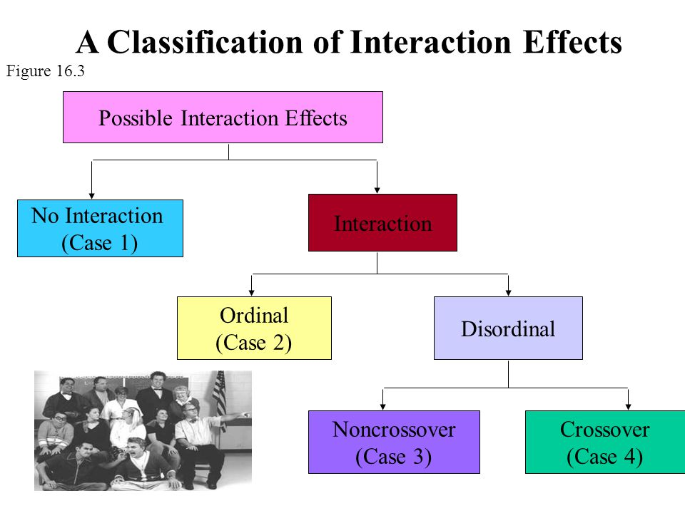 Possible Interaction Effects No Interaction (Case 1) Interaction Ordinal (Case 2) Disordinal Noncrossover (Case 3) Crossover (Case 4) A Classification