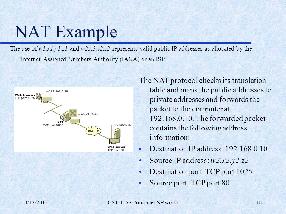 4/13/2015CST 415 - Computer Networks16 NAT Example The NAT protocol checks its translation table and maps the public addresses to private addresses an