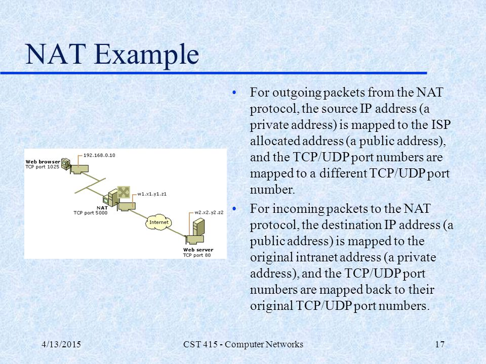 4/13/2015CST 415 - Computer Networks17 NAT Example For outgoing packets from the NAT protocol, the source IP address (a private address) is mapped to