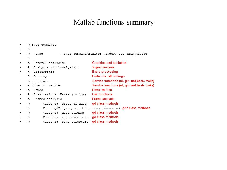Matlab functions summary % Snag commands % % snag - snag command/monitor window; see Snag_ML.doc % % General analysis: Graphics and statistics % Analy