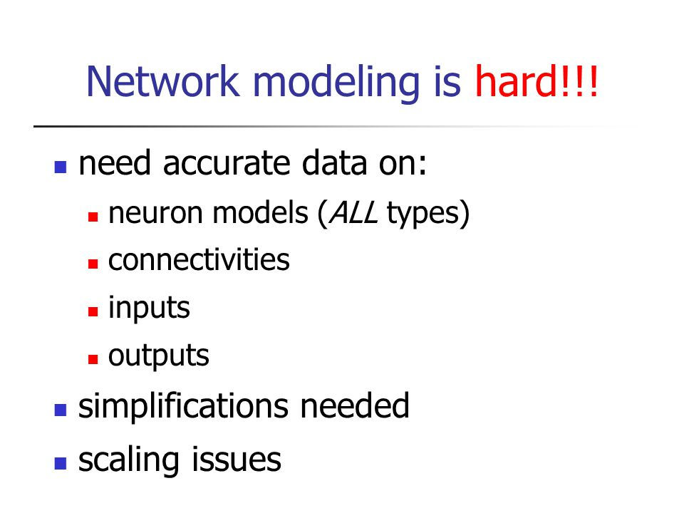 Network modeling is hard!!.