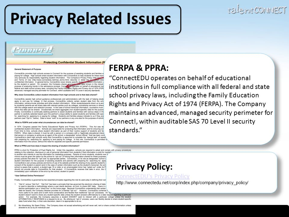 Privacy Related Issues FERPA & PPRA: ConnectEDU operates on behalf of educational institutions in full compliance with all federal and state school privacy laws, including the Family Education Rights and Privacy Act of 1974 (FERPA).
