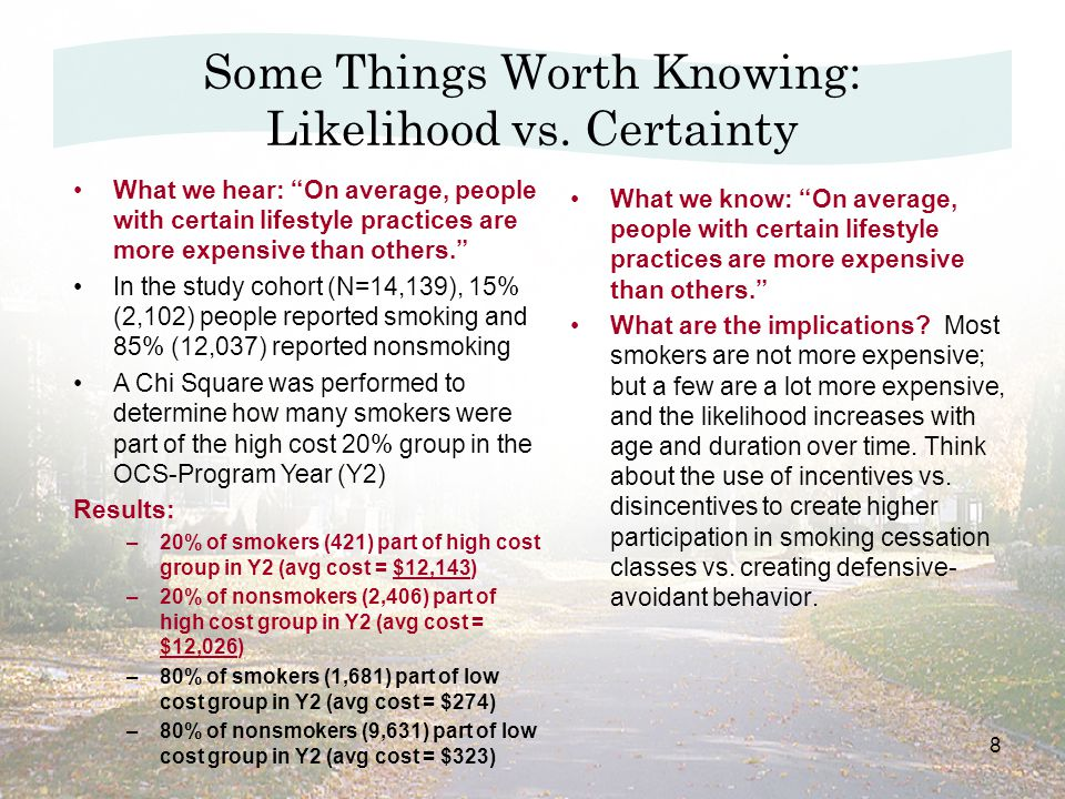 8 What we know: On average, people with certain lifestyle practices are more expensive than others. What are the implications.