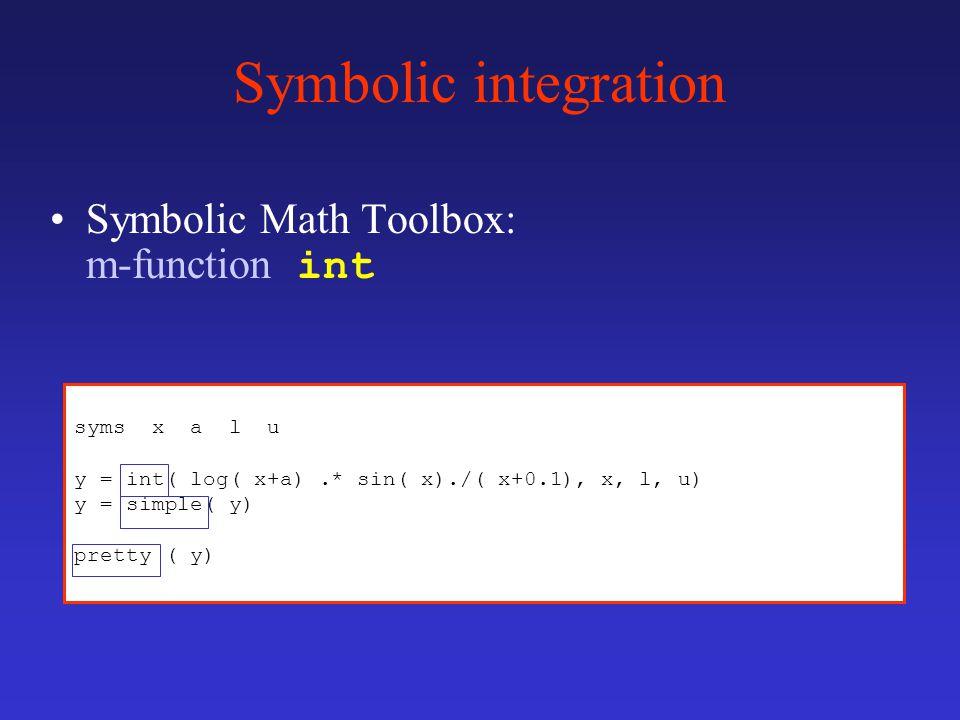 syms x a l u y = int( log( x+a).* sin( x)./( x+0.1), x, l, u) y = simple( y) pretty ( y) Symbolic integration Symbolic Math Toolbox: m-function int
