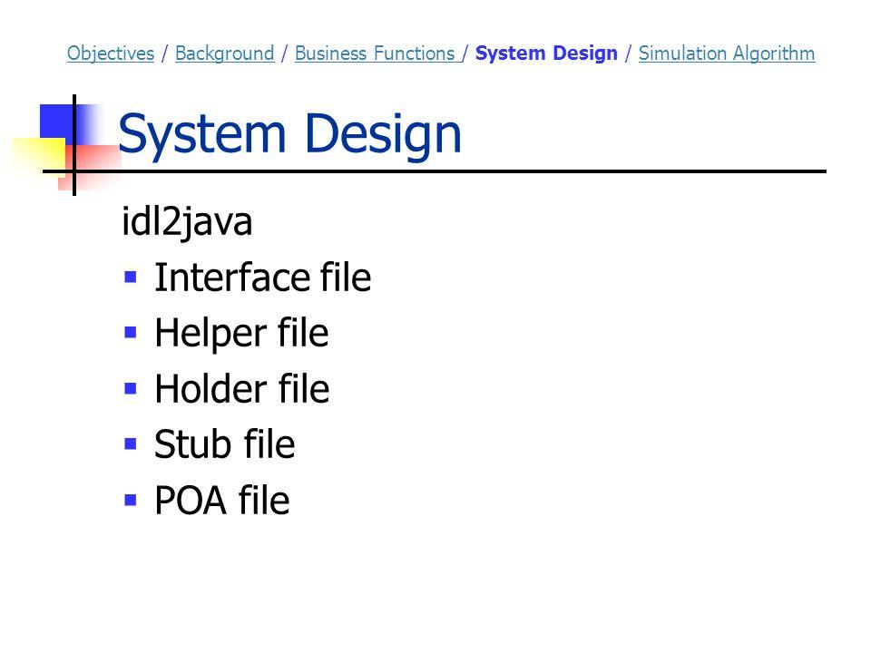 System Design idl2java  Interface file  Helper file  Holder file  Stub file  POA file ObjectivesObjectives / Background / Business Functions / System Design / Simulation AlgorithmBackgroundBusiness Functions Simulation Algorithm
