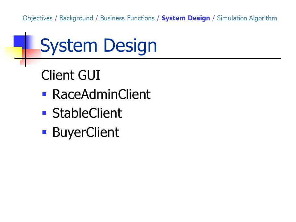 System Design Client GUI  RaceAdminClient  StableClient  BuyerClient ObjectivesObjectives / Background / Business Functions / System Design / Simulation AlgorithmBackgroundBusiness Functions Simulation Algorithm