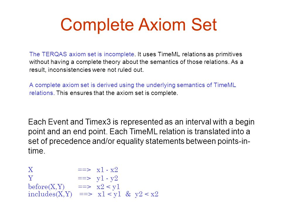 Complete Axiom Set The TERQAS axiom set is incomplete. It uses TimeML relations as primitives without having a complete theory about the semantics of