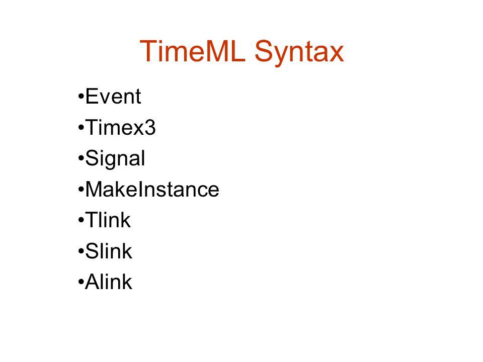 TimeML Syntax Event Timex3 Signal MakeInstance Tlink Slink Alink