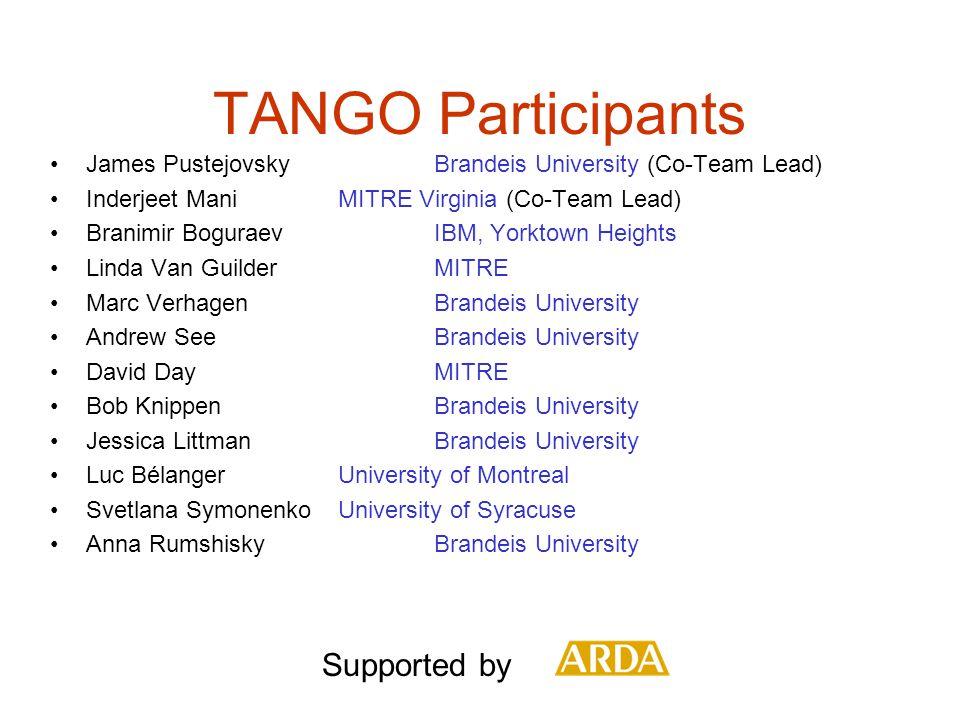TANGO Participants James Pustejovsky Brandeis University (Co-Team Lead) Inderjeet ManiMITRE Virginia (Co-Team Lead) Branimir BoguraevIBM, Yorktown Hei