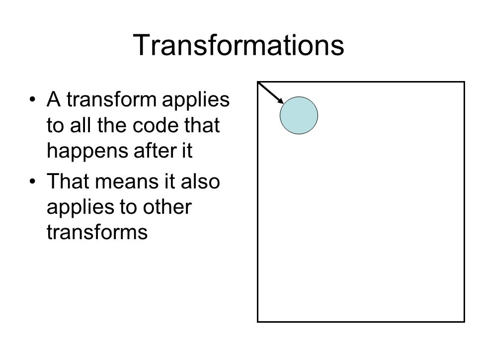 Transformations A transform applies to all the code that happens after it That means it also applies to other transforms