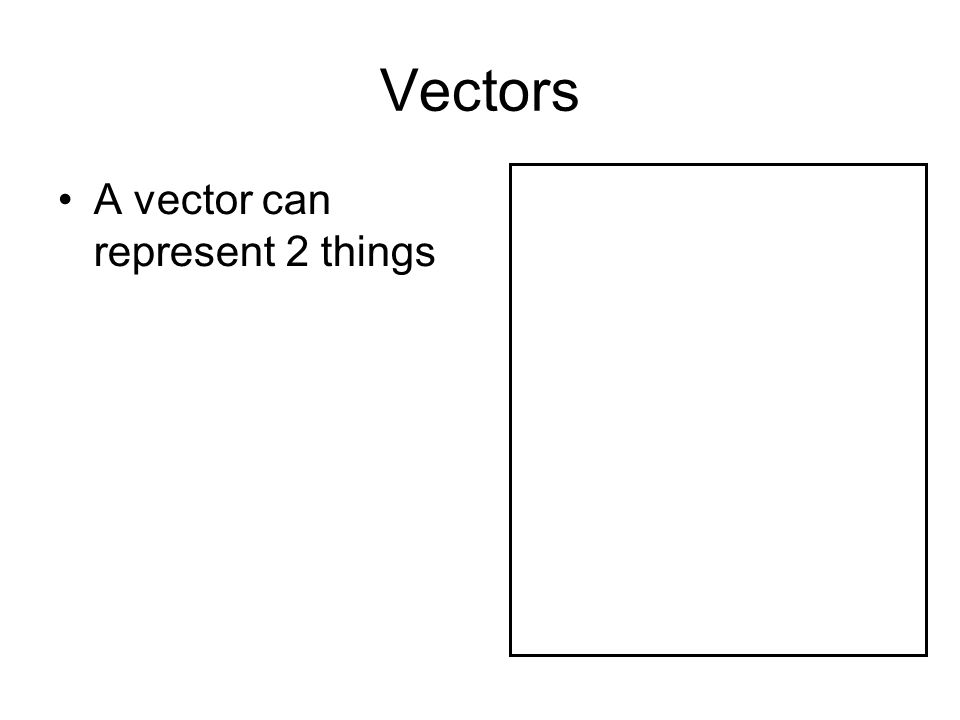 Vectors A vector can represent 2 things A position on the screen (A position vector) (x,y)