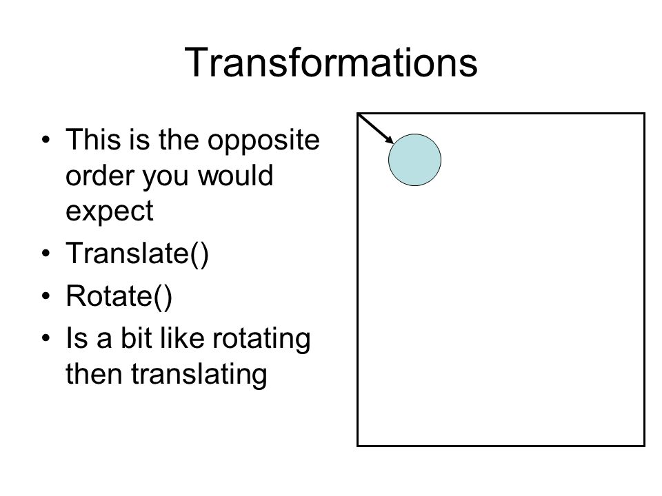 Transformations This is the opposite order you would expect Translate() Rotate() Is a bit like rotating then translating