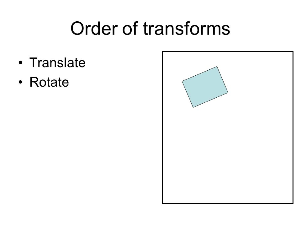 Order of transforms Translate Rotate