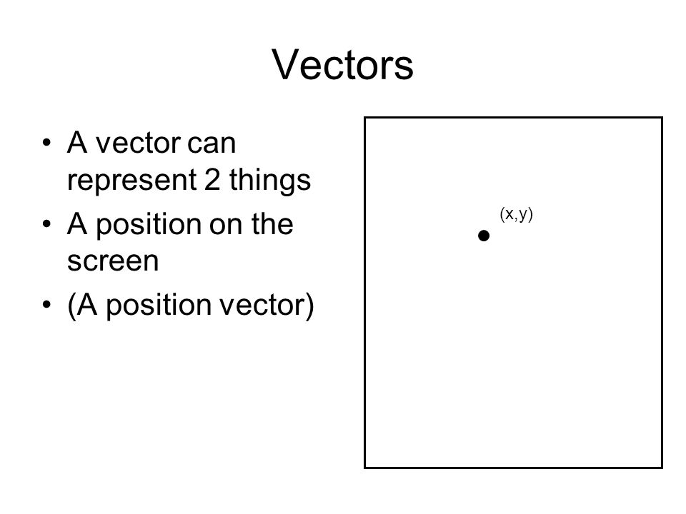 Vectors A vector can represent 2 things A displacement between two points (A displacement vector) (x,y)