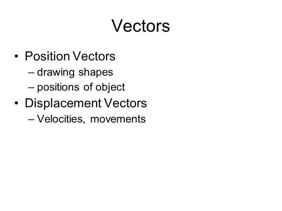 Maths on Vectors You can do maths on vectors Normally you do each operation on each element separately It normally help to think about vectors as displacement vectors