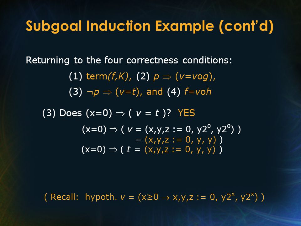 Subgoal Induction Example (cont'd) Returning to the four correctness conditions: (1) term(f,K), (2) p  (v=vog), (3) ¬p  (v=t), and (4) f=voh (3) Doe