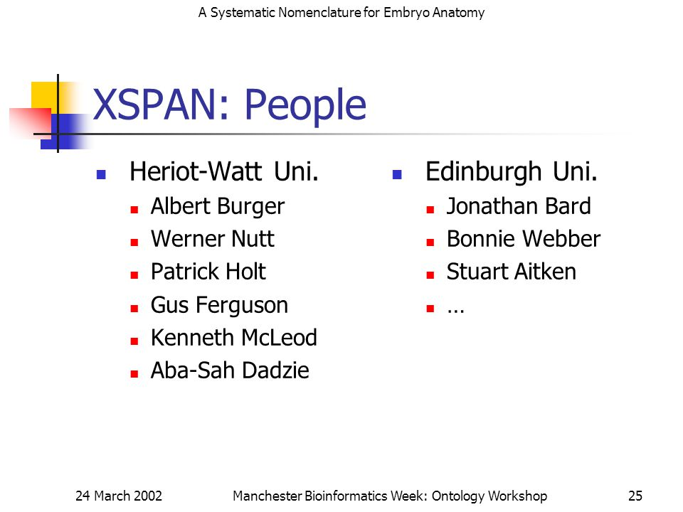 A Systematic Nomenclature for Embryo Anatomy 24 March 2002Manchester Bioinformatics Week: Ontology Workshop25 XSPAN: People Heriot-Watt Uni.