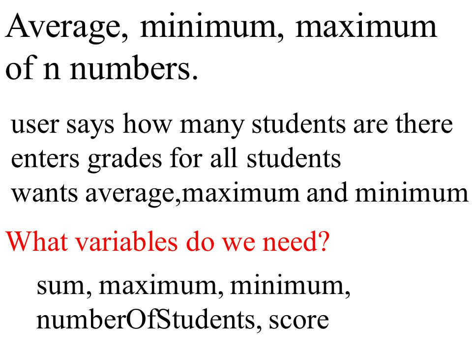 Average, minimum, maximum of n numbers. user says how many students are there enters grades for all students wants average,maximum and minimum What va