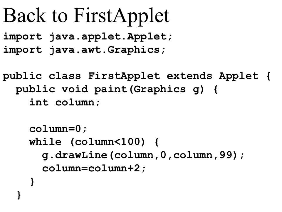 import java.applet.Applet; import java.awt.Graphics; public class FirstApplet extends Applet { public void paint(Graphics g) { int column; column=0; while (column<100) { g.drawLine(column,0,column,99); column=column+2; } Back to FirstApplet