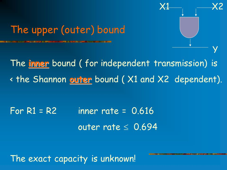 The upper (outer) bound inner The inner bound ( for independent transmission) is outer < the Shannon outer bound ( X1 and X2 dependent).